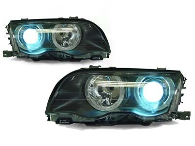 2 FEUX AVANT ANGEL EYES BMW SERIE 3 E46 BERLINE PHASE 1 AU XENON + 2 CLIGNOTANT
