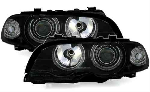 2 FEUX PHARE AVANT ANGEL EYES FOND NOIR BMW SERIE 3 E46 COUPE PHASE 1 DE 04/99 A 04/03