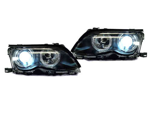 2 FEUX AVANT ANGEL EYES BMW SERIE 3 E46 BERLINE PHASE 2 AU VRAI XENON