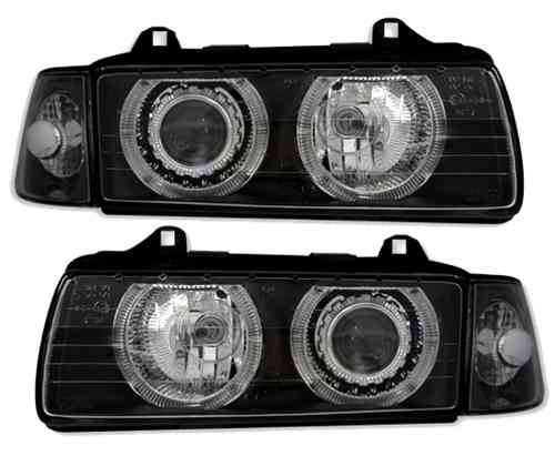 2 FEUX PHARE AVANT ANGEL EYES BMW SERIE 3 E36 NOIR BERLINE + 2 CLIGNOTANT ASSORTIE
