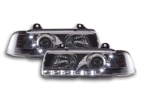2 FEUX AVANT A LED DEVIL EYES BMW SERIE 3 E36 CHROME COUPE ET CABRIOLET