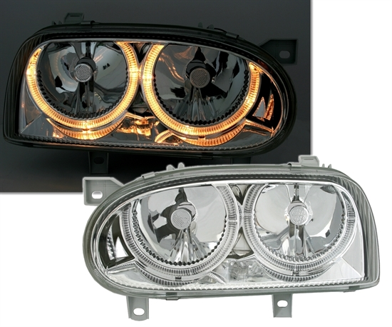 2 feux phare avant angel eyes pour vw golf 3 chrome adtuning france. Black Bedroom Furniture Sets. Home Design Ideas