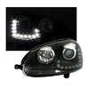 2 FEUX PHARE AVANT DEVIL EYES LED POUR VW GOLF 5 DE 10/2003 A 09/2008 A FOND NOIR
