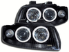 2 FEUX PHARE AVANT ANGEL EYES NOIR AUDI A4 8E B6 DE 10/00 A 11/04 BERLINE + BREAK / AVANT