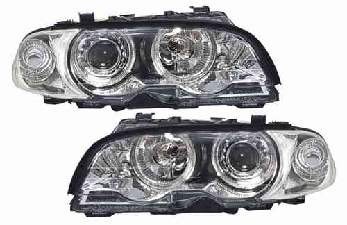2 FEUX PHARE AVANT ANGEL EYES CHROME BMW SERIE 3 E46 COUPE PHASE 1 DE 04/99 A 04/2001