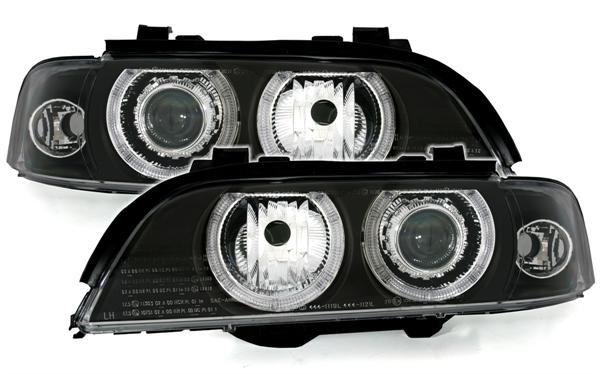 2 feux phare avant angel eyes bmw serie 5 e39 electrique a fond noir pour xenon d 39 origine en d2s. Black Bedroom Furniture Sets. Home Design Ideas