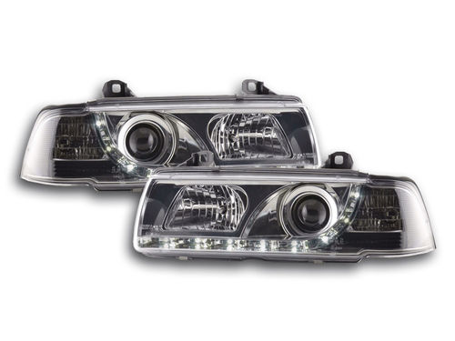 2 FEUX PHARE AVANT LED DEVIL EYES BMW SERIE 3 E36 CHROME BERLINE