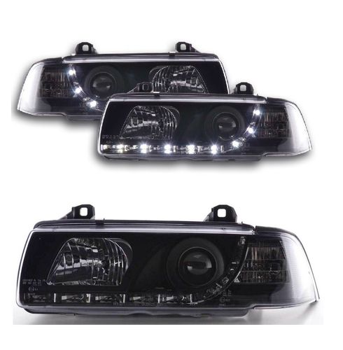 2 FEUX PHARE AVANT A LED DEVIL EYES BMW SERIE 3 E36 NOIR BERLINE