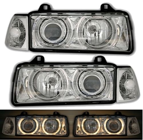 2 FEUX PHARE AVANT ANGEL EYES BMW SERIE 3 E36 CHROME BERLINE + 2 CLIGNOTANTS