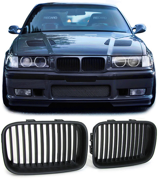 2 grille de calandre noir mat bmw serie 3 e36 phase 1 de 1990 a 08 1996 adtuning france. Black Bedroom Furniture Sets. Home Design Ideas