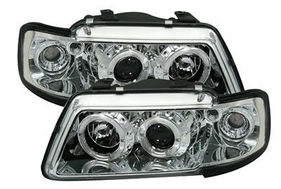 2 feux phare avant angel eyes a led pour audi a3 8l phase 1 de 1995 a 2000 chrom ebay. Black Bedroom Furniture Sets. Home Design Ideas