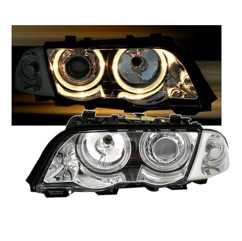 2 FEUX PHARE AVANT CHROME ANGEL EYES BMW SERIE 3 E46 BERLINE PHASE 1 DE 98 A 2001