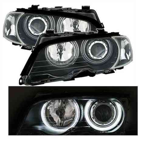 2 FEUX AVANT ANGEL EYES A FOND NOIR BMW SERIE 3 E46 COUPE PHASE 1 DE 1999 A 2003