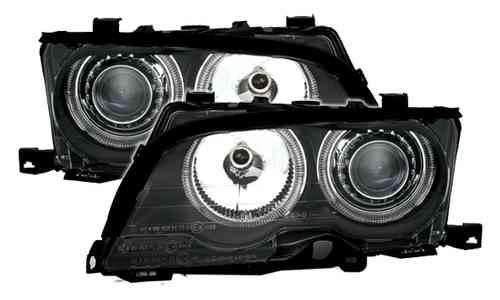 2 FEUX PHARE AVANT ANGEL EYES A FOND NOIR BMW E46 COUPE PHASE 1 DE 10/01 A 04/2003