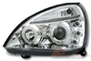 2 FEUX PHARE AVANT ANGEL EYES CHROME POUR RENAULT CLIO 2 PHASE 2 DE 06/2001 A 09/2005
