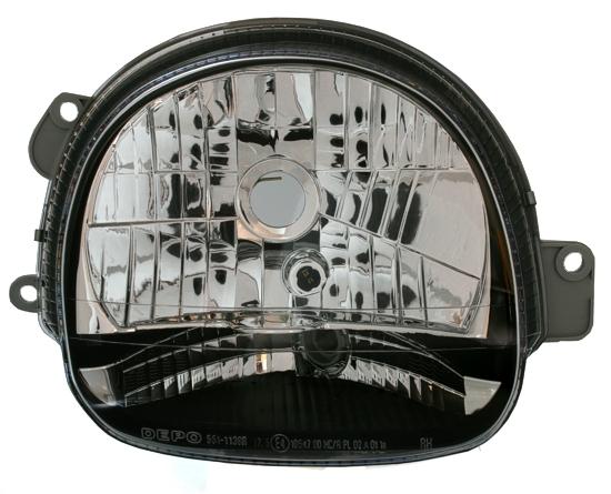 2 feux phares avant droit gauche pour renault twingo 2000 a 2007 crystal avec fond noir. Black Bedroom Furniture Sets. Home Design Ideas