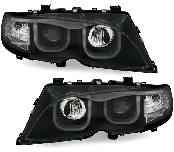 2 feux phare avant angel eyes led tube 3d bmw serie 3 e46