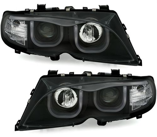 2 FEUX AVANT AVEC ANGEL EYES A LED 3D POUR BMW SERIE 3 E46 BERLINE PHASE 2 DE 2001 A 2005 AU XENON