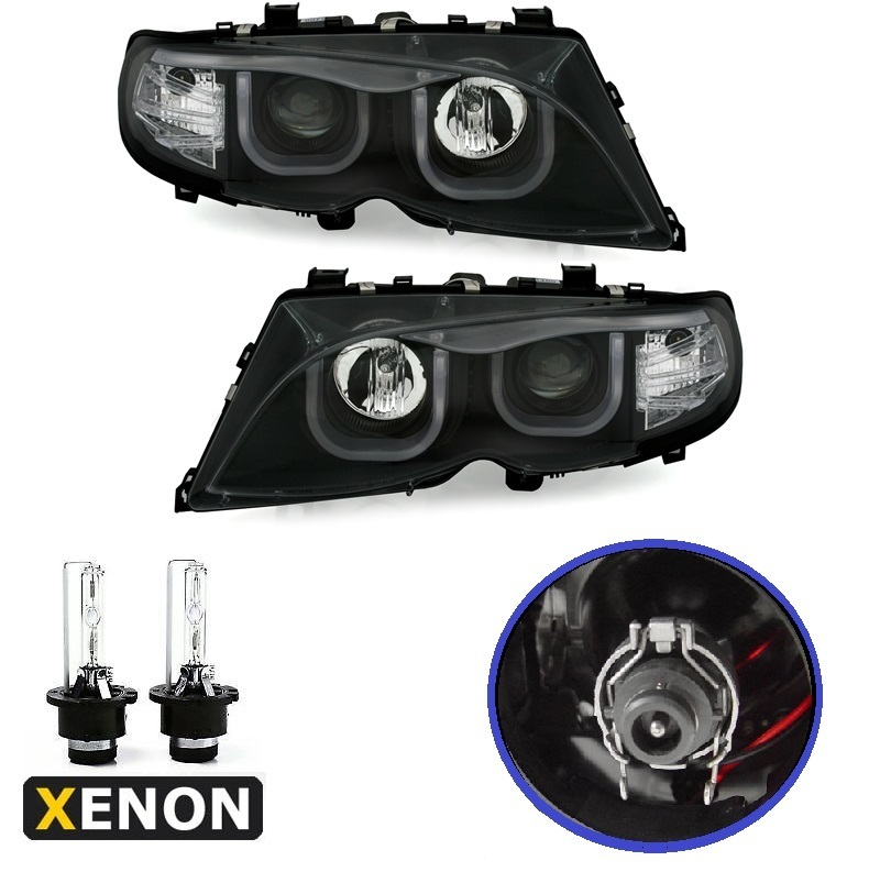 2 feux phare avant xenon angel eyes led 3d bmw serie 3 e46 berline phase 2 de 10 2001 a 03 2005. Black Bedroom Furniture Sets. Home Design Ideas