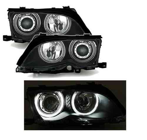 2 FEUX PHARE AVANT ANGEL EYES CCFL BLANC POUR BMW SERIE 3 E46 BERLINE PHASE 2 DE 2001 A 2005