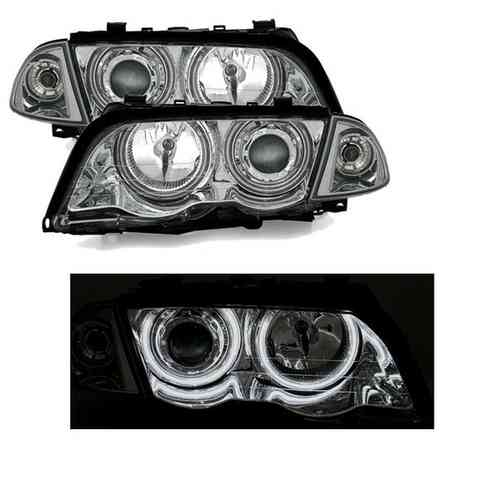 2 FEUX PHARE AVANT CHROME ANGEL EYES CCFL BMW SERIE 3 E46 BERLINE PHASE 1 DE 98 A 2001