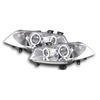 2 FEUX PHARE AVANT ANGEL EYES A LED POUR RENAULT MEGANE 2 A FOND CHROME