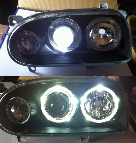 2 feux avant angel eyes 20 led pour vw golf 3 avec clignotant a fond noir et au vrai xenon d2s. Black Bedroom Furniture Sets. Home Design Ideas