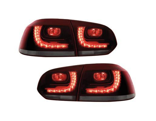 lot de 2 feux arriere a led pour vw golf 6 rouge et noir translucide adtuning france. Black Bedroom Furniture Sets. Home Design Ideas