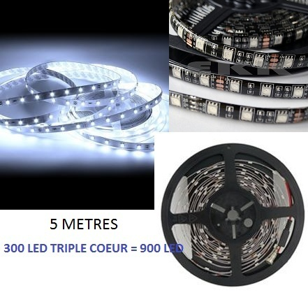 5 METRE DE RUBAN LED ULTRA BLANC A 300 LED 5050 TRIPLE COEUR = 900 LED