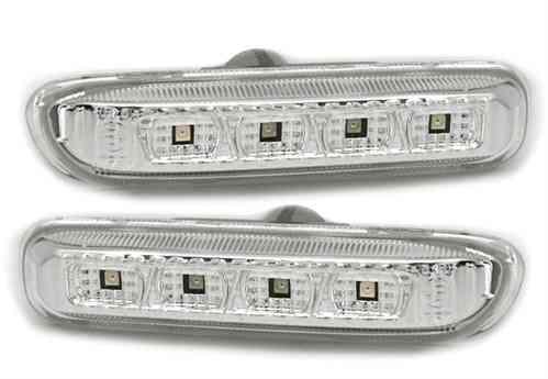 2 REPETITEUR A FOND CHROME ET 4 LED BMW SERIE 3 E46 BERLINE COUPE PHASE 1 ET COMPACT