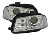 2 FEUX AVANT CHROME DEVIL EYES POUR AUDI A3 8P DE 2003 A 2008 A FOND CHROME