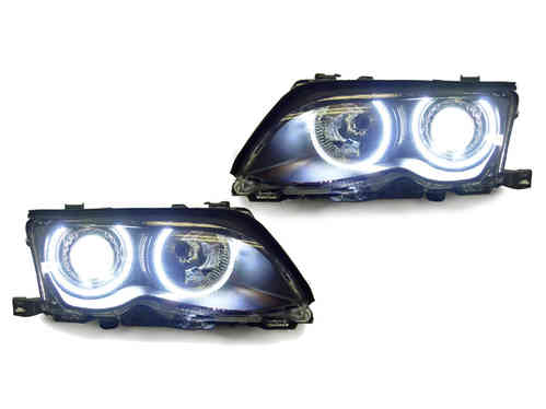 2 FEUX PHARE AVANT ANGEL EYES CCFL BLANC POUR BMW SERIE 3 E46 BERLINE PHASE 2 DE 2001 A 2005 XENON