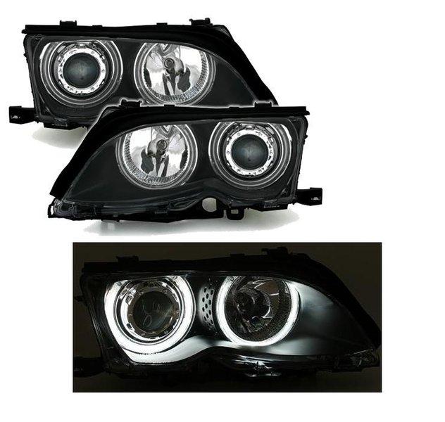 2 feux phare avant xenon angel eyes ccfl blanc bmw serie 3 e46 berline phase 2 de 10 2001 a 2005. Black Bedroom Furniture Sets. Home Design Ideas