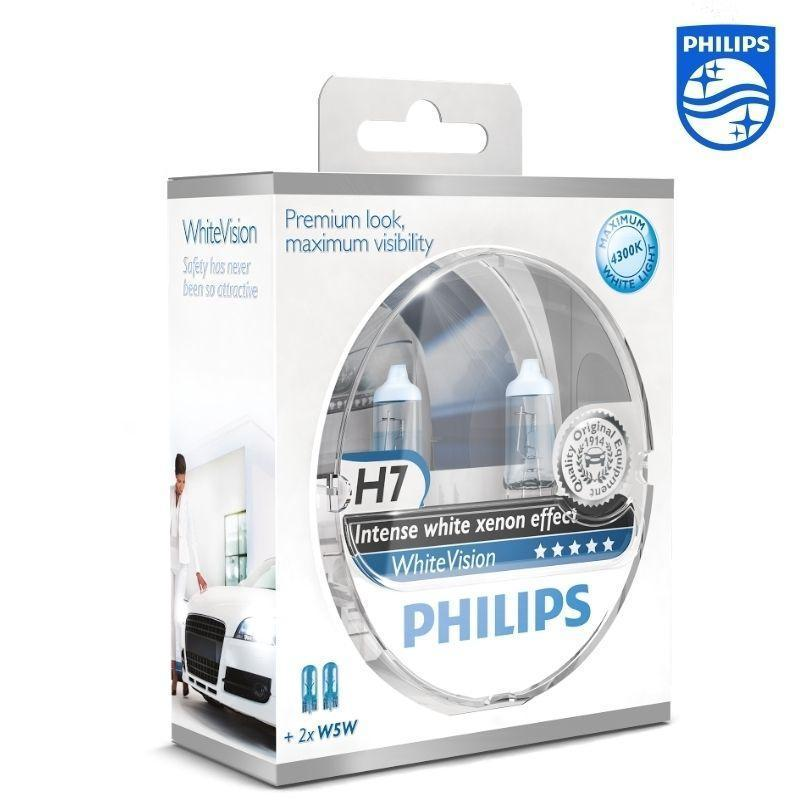 2 ampoule h7 12v 55w 2 w5w philips intense white xenon. Black Bedroom Furniture Sets. Home Design Ideas