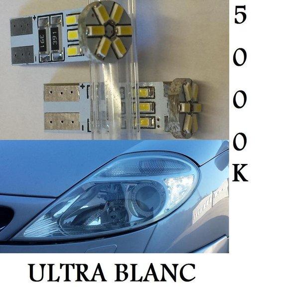 2 ampoule a 12 led smd en culot w5w pour veilleuses sans. Black Bedroom Furniture Sets. Home Design Ideas