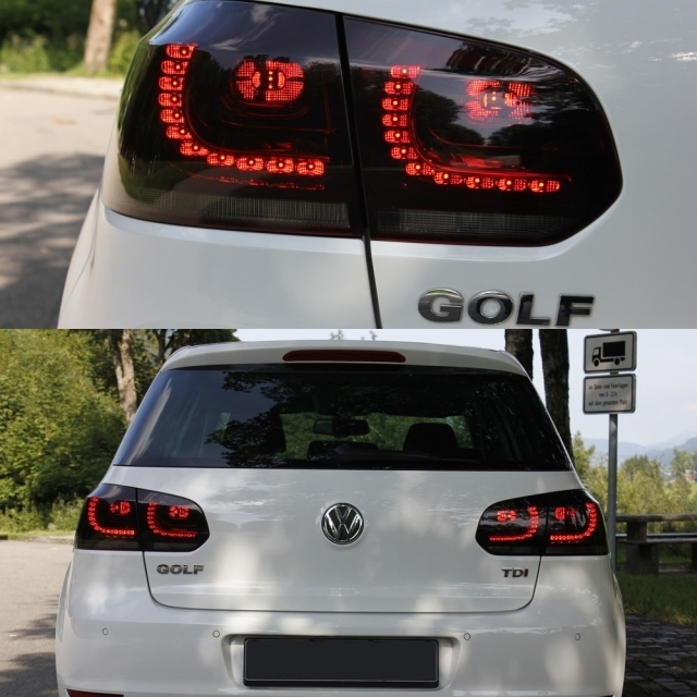 2 feux arriere led noir translucide vw golf 6 look gti adtuning france. Black Bedroom Furniture Sets. Home Design Ideas