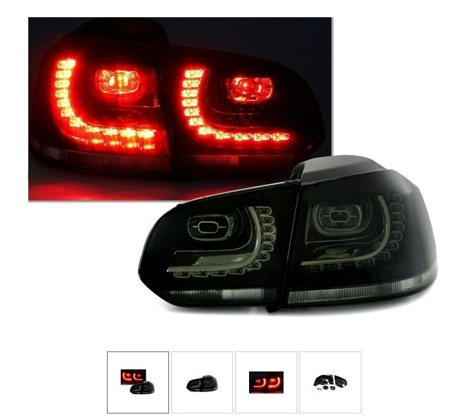 2 feux arriere noir translucide vw golf 6 a led pour tdi gti adtuning france. Black Bedroom Furniture Sets. Home Design Ideas
