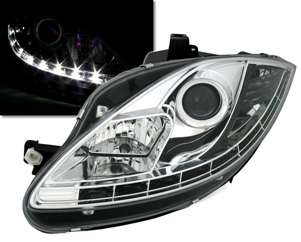 2 phare feux avant chrome devil eyes led seat leon 2 facelift 03 2009 adtuning france. Black Bedroom Furniture Sets. Home Design Ideas