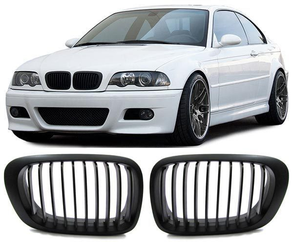 2 grille de calandre noir mat bmw serie 3 e46 coupe phase. Black Bedroom Furniture Sets. Home Design Ideas