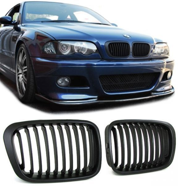 2 grille calandre noir bmw serie 3 e46 berline touring phase 1 1998 a 09 2001 ebay. Black Bedroom Furniture Sets. Home Design Ideas