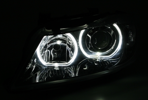 2 feux phare avant angel eyes a led bmw serie 3 e90 e91 a fond noir ebay. Black Bedroom Furniture Sets. Home Design Ideas