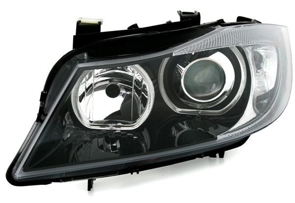 2 feux phare avant angel eyes led bmw serie 3 e90 e91 berline touring de 09 2005 a 12 2008. Black Bedroom Furniture Sets. Home Design Ideas