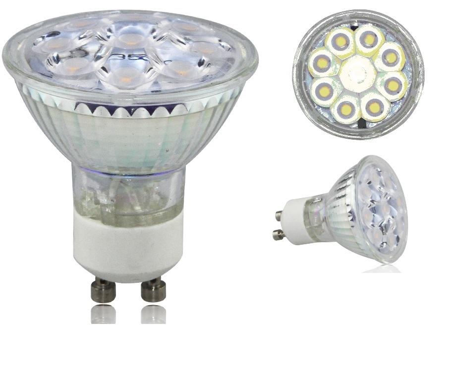 1 ampoule led maison gu10 5 4w a 9 led smd 220v couleur blanc chaud 3000k adtuning france. Black Bedroom Furniture Sets. Home Design Ideas