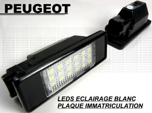 eclairage plaque d 39 immatriculation 36 led smd peugeot 106 1007 307 308 3008 406 407 508 806 807. Black Bedroom Furniture Sets. Home Design Ideas