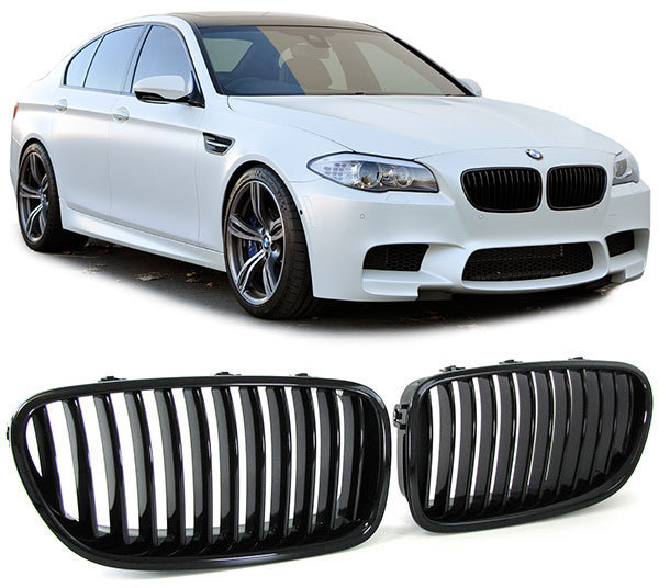 2 grille de calandre noir brillant vernis bmw serie 5. Black Bedroom Furniture Sets. Home Design Ideas