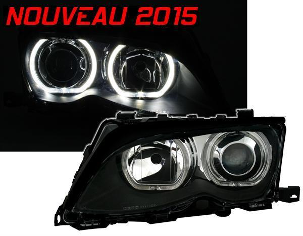 nouveau 2015 2 feux phare avant angel eyes led bmw serie 3 e46 berline touring ph2 2001 2005. Black Bedroom Furniture Sets. Home Design Ideas