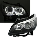 BMW SERIE 5 E60 E61 - FEUX PHARE AVANT HALOGENE H7 ANGEL EYES LED BLANC 07/2003-2012 PHASE 1 & 2