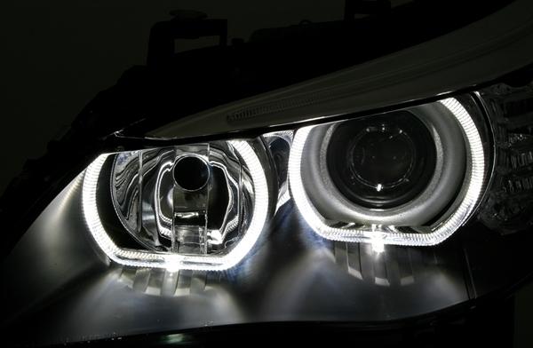 Bmw Serie 5 E60 E61 Feux Phare Avant Halogene H7 Angel Eyes Led