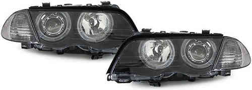 2 FEUX PHARE AVANT NOIR ANGEL EYES BMW SERIE 3 E46 BERLINE PHASE 1 DE 98 A 2001- 320D 330D