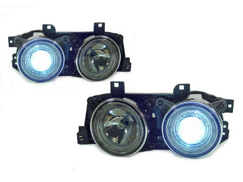 2 FEUX PHARE AVANT ANGEL EYES CHROME AU XENON POUR BMW SERIE 3 E30 DE 1984 A 1991